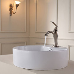 Kraus - Kraus Bathroom Combo Set White Round Ceramic Sink/Ventus Bas-inch Faucet - Add a touch of elegance to your bathroom with a ceramic sink combo from Kraus Stylish ceramic sink and Ventus vessel faucet will complement any bathroom decor