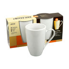Konitz - Café Maxi Mugs, Set of 2 - All right, you get it: Those little European-style coffee cups are chic and refined. But all you want is a Big Daddy mug you don't have to refill. These 13-ounce mugs are perfect for a generous morning wake-up brew or a tall mocha on a cold day. The simple design in clean white porcelain gives you straight-from-the-cafe style, and the large handle lets you easily carry your drink with you through the morning.