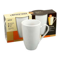 Konitz - Set of 2 Maxi Mugs - All right, you get it: Those little European-style coffee cups are chic and refined. But all you want is a Big Daddy mug you don't have to refill. These 13-ounce mugs are perfect for a generous morning wake-up brew or a tall mocha on a cold day. The simple design in clean white porcelain gives you straight-from-the-cafe style, and the large handle lets you easily carry your drink with you through the morning.