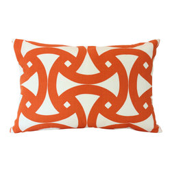 The Pillow Studio - Tangerine and Ivory Designer Lumbar Pillow Cover, Schumacher Santorini Fabric - I love the geometric design on this pillow and the tangerine orange color makes me smile every time I see it.