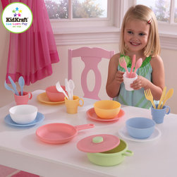 "Kidkraft - 27 Piece Cookware Play set in Pastel Color From Vistastores - With this 27 Piece Cookware Play set your little chef can now prepare and serve delicious imaginary culinary delights. With its pastel color and 1 frying pan, 1 pot with lid, 4 cups, 4 bowls, 4 plates, 6.5"" Plate makes it a perfect play toy for kids."