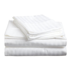 650 Thread Count Egyptian Cotton Queen White Stripe Sheet Set - 650 Thread Count Egyptian Cotton oversized Queen White Stripe Sheet Set