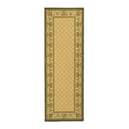 Safavieh - Indoor/ Outdoor Royal Natural/ Olive Runner (2'4 x 6'7) - Courtyard all-weather rug features a transitional style Indoor/outdoor runner highlights a natural background and a lattice 'X' pattern and border in green Area rug made of 100-percent fine-spun polypropylene pile