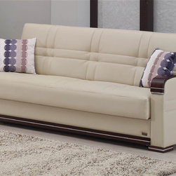 None - Fulton Cream Vinyl/ Espresso Sofa Bed - This convertible Fulton sofa bed is the perfect solution for homes with tight spaces but lots of style. Built-in click clack technology makes it easy to operate: the espresso-accented, cream vinyl sofa converts in seconds to sleeper position.