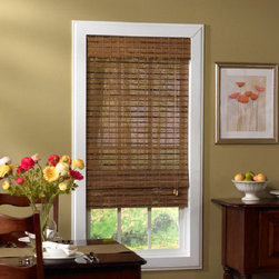 None - Jakarta Natural Bamboo Roman Shade - Delicate strips of natural bamboo are joined by an intricate weave cord to provide the perfect blend of light and privacy. Created to gently fold into the classic Roman shade design,this shade adds warmth to any room in your home.