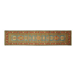 Manhattan Rugs - New Runner Super Kazak 3x12 Soft Baby Blue Hand Knotted Wool Oriental Rug H5866 - Kazak (Kazakh, Kasak, Gazakh, Qazax). The most used spelling today is Qazax but rug people use Kazak so I generally do as well.The areas known as Kazakstan, Chechenya and Shirvan respectively are situated north of  Iran and Afghanistan and to the east of the Caspian sea and are all new Soviet republics.   These rugs are woven by settled Armenians as well as nomadic Kurds, Georgians, Azerbaijanis and Lurs.  Many of the people of Turkoman origin fled to Pakistan when the Russians invaded Afghanistan and most of the rugs are woven close to Peshawar on the Afghan-Pakistan border.There are many design influences and consequently a large variety of motifs of various medallions, diamonds, latch-hooked zig-zags and other geometric shapes.  However, it is the wonderful colours used with rich reds, blues, yellows and greens which make them stand out from other rugs.  The ability of the Caucasian weaver to use dramatic colours and patterns is unequalled in the rug weaving world.  Very hard-wearing rugs as well as being very collectable