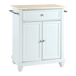 Crosley - Cambridge Natural Wood Top Portable Kitchen Island - Dimensions:  18 x 28.2 x 36 inches