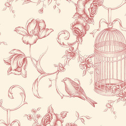 Large Floral Birdcage in Red and Beige - GC29840 - Collection:Grand Chateau