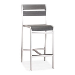 Zuo Modern - Zuo Modern Megapolis Bar Chair in Brushed Aluminum - Bar Chair in Brushed Aluminum belongs to Megapolis Collection by Zuo Modern The Megapolis Bar Chair has a sturdy brusehed aluminum frame and a slatted faux wood seat and back. Barstool (1)