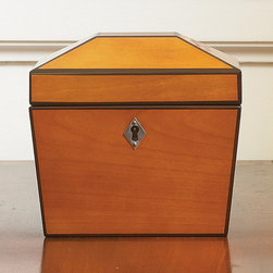 Frontgate - Two Toned Angled Top Box - Beautiful dresser-top storage for jewelry and small keepsakes. Warm wood tones. Traditional key escutcheon provide classic styling. A traditional architectural element remakes the beloved keepsake box. The lid of our Two-Toned Angled-Top Box is based on a hip-style roof, with two-toned wood accentuating the lines.  .  . .