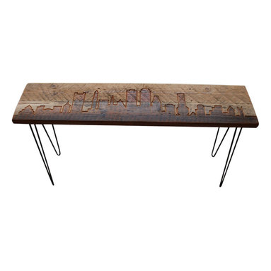 "Urban Wood Goods - Boston Reclaimed Wood Console Table - Thick, 72"" x 11.5"" - Boston reclaimed wood console table features the Boston skyline etched into the top and accented with modern mid-century style hairpin legs. Each Boston skyline table is made of a single board of recycled Douglas Fir from a century old home, barn or building the midwestern USA. Sustainable urban living accent pieces for business or home featuring Boston and other cities."