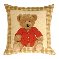 Pillow Decor - Pillow Decor - Tapestry Hello Teddy Pillow - This sweet teddy bear pillow is gently calling to come home with you. A beautiful caramel colored tartan border frames this well dressed bear in a red coat. The rich detail of this teddy's furry coat and its soft gaze reveal the richly woven beauty of the Flemish tapestry. Imported from Belgium this pillow is an ideal accessory for a nursery or child's room. The teddy bear's sweet presence will comfort both children and adults alike.