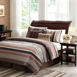 Madison Park - Madison Park Dartmouth 5-piece Coverlet Set - To add a touch of richness to current decor,the Dartmouth Coverlet Set can update a room in seconds. The coverlet and shams share leaf,striping and medallion motifs that are accentuated by channel stitching on a chocolate brown base.