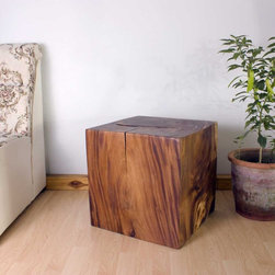 Natural Wood End Table -