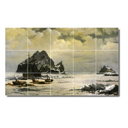 Picture-Tiles, LLC - Morning On The Artic Ice Fields Tile Mural By William Bradford - * MURAL SIZE: 24x40 inch tile mural using (15) 8x8 ceramic tiles-satin finish.
