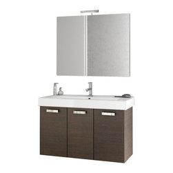 ACF - 40 Inch Wenge Bathroom Vanity Set - Set Includes: Vanity Cabinet (3 Doors).