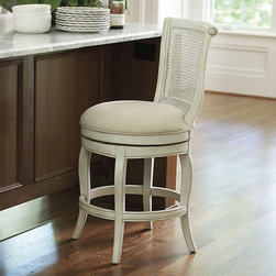 Ballard Designs - Julien Armless Counter Stool - All-around heel rest for easy in & out. Assembly required. Our Julien Armless Counter Stool is dressy enough for hors d'oeuvres in the kitchen and comfy enough for lingering over Saturday morning coffee. Solid hardwood frame has pretty caned back with scroll details. Generously upholstered linen blend seat swivels a full 360 degreesJulien Counter Stool features:. .