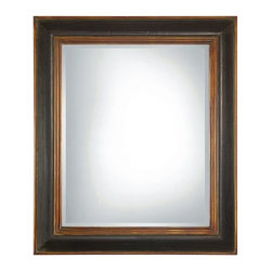 Uttermost - Fabiano Beveled Mirror With Wood Frame - Uttermost 07023 B Grace Feyock Fabiano Black MirrorThis wood frame features a hand rubbed black finish with a gray glaze. Inner and outer lips are antiqued gold. Mirror is beveled.Features: