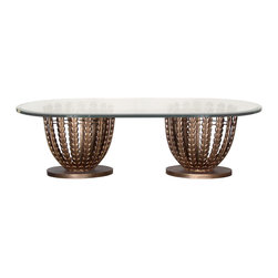 "GILANI - Olive Grove Coffee Table Base (Rectangular) - Olive Grove Coffee Table Base (Rectangular). Style no: CT74750 x 2. Each base 20""dia x 18""h. Material: Metal. Finish: As specified. Top Options: Glass, up to 72""w x 36""d. Custom sizing available. Designed by Shah Gilani, ASFD."