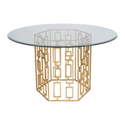 "Worlds Away - Worlds Away Gold Leaf Dining Table Base with 48""Dia Glass Top JACKSON G48 - Gold leaf dining table base with 48"" diameter round beveled glass. Glass is 3/8"" thick."