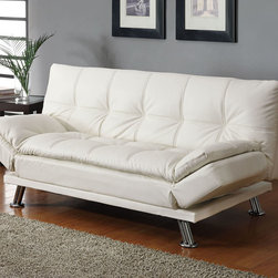 Coaster - 300291 Sofa Bed - White - Featuring stylish white stitching, as well as chrome finished legs, adjustable arm rests and pillow-top cushions.