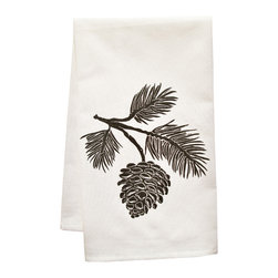 """artgoodies - Organic Block Print Pinecone Tea Towel - This high quality 100% certified organic cotton tea towel was custom made just for artgoodies! Hand printed with an original block print design by Lisa Price it measures 20""""x28"""" and has a convenient corner loop for hanging. Nice and absorbent for drying dishes, looks great when company is over, and makes a great housewarming gift!"""