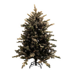 None - 4.5-foot Pre-lit Flocked Northern Tree - This pre-lit tree features a mix of molded plastic branches and medium regular soft needles in dark green. Flocking on the outer tips adds an extra dimension and woodsy look,while the light strands with plug-in cord are placed within the branches.