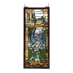 Meyda - 17 Inch W x 40 Inch H Tiffany Peace Balcony Windows - Color theme: Beige green/blue HA CA
