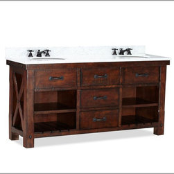 Benchwright Double Sink Console - The Benchwright double sink console is perfection in my opinion: distressed wood, double sinks, Carrara marble, three drawers, two cubbies with adjustable shelves, chamfer detailing. My husband would cringe at the price tag, but a girl can dream, right?
