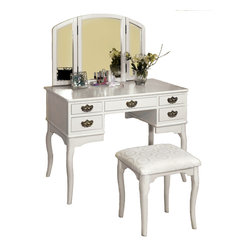 Adarn Inc. - Tri-Folding Mirror Vanity Set 3 PC Make Up Table Padded Bench 5 Drawers, White - This Ashland English Style Vanity Table Set will be a stunning addition to your bedroom or dressing area. Featuring a hinged three sided mirror, five storage drawers and a lovely padded vanity stool, this piece is both stylish and versatile. Five small drawers provide enough space to store brushes and frequently used items. The hinged three side mirror will add light to the room, while adding another convenient touch to help you get dressed. A comfortable padded seat stool is also included. Select your favorite one from the white and cherry color.