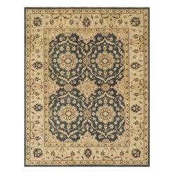 """Loloi Rugs - Loloi Rugs Vernon Collection - Estate Blue / Ivory, 8'-6"""" x 11'-6"""" - The hand-knotted Vernon Collection is at once sophisticated and trendy. Made in India of 100-percent fine wool, Vernon's traditional designs are inspired by Turkish Oushaks. Note the meticulous antique finishing, which gives each rug in the collection a distinctive, Old-World patina. Vernon takes traditional rug fashions up a notch."""