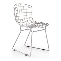 Zuo Modern - Zuo Baby Wire Chair in Chrome [Set of 2] - Chair in Chrome belongs to Baby Wire Collection by Zuo Modern Baby Wire children's chair suits every living space where children play. Made out of chrome steel for the base and flexible, high-resilient polyurethane as a cushion. Chair (2)
