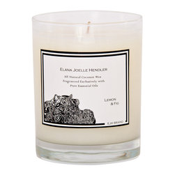EJH Brand - Lemon + Fig Candle - Get acquainted with this unique fragrance combo — the cheerful, peppy scent of lemon plus the subtly erotic aroma of fig. This candle created from all-natural coconut wax and 100 percent pure essential oils is an ideal addition to your favorite romantic setting.