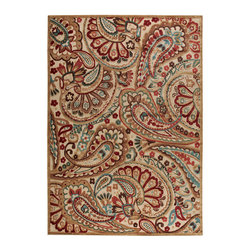 """Nourison - Nourison Graphic Illusions GIL14 7'9"""" x 10'10"""" Light Multicolor Area Rug 13238 - Paisley may be playful but it gets an injection of old world elegance when presented in regal hues of light-filled cream, gold, green, teal, turquoise and crimson. Hand carved to enhance every detail with a high-low loop pile-construction for superb touchability."""
