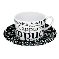 Konitz - Konitz Cappuccino Writing on White Cups & Saucers, Set of 4 - These 'Cafe Latte Writing' cappuccino cups come in a set of four and feature classic porcelain construction. Black text on a white background.