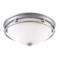 Savoy House - Savoy House Flush Mount Flush Mount Ceiling Fixture in Brushed Pewter - Shown in picture: Brushed Pewter Finish with White Etched Glass