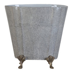 Oriental Danny - Porcelain Planter With Bronze Accent - Elegant porcelain planter with neutral color is ideal for flower arrangement. The planter is sitting on solid bronze legs.