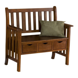 "Southern Enterprises - Southern Enterprises 3-Drawer Country Bench in Oak Finish - Southern Enterprises - Living Room Benches - BC3044 - Keep it simple and clutter free with this adorable country bench. This oak bench provides not only a place to sit and relax, but also three convenient drawers that measure 10.5"" long, 7.5"" wide, and 3.5"" deep allowing you to stash away anything from hats and gloves, to your dog's leash and toys. The simplistic design of this bench is achieved from the traditional vertical slat back and sides. This three-drawer bench adds storage and creates the perfect entryway accent with its style and functionality."