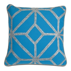 IMAX CORPORATION - Blue and Gray Diamond Pillow - Whether you call it a diamond or rhombus shape, this pillow adds character to any home and looks great with a variety of decor. Find home furnishings, decor, and accessories from Posh Urban Furnishings. Beautiful, stylish furniture and decor that will brighten your home instantly. Shop modern, traditional, vintage, and world designs.