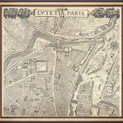 Wendover Art - Vintage Paris Map - This elegant Giclee on Paper print adds a bit of flare to any space. A beautifully framed piece of art has a huge impact on a room for relatively low cost! Many designers and home owners select art first and plan decor around it or you can add artwork to your space as a finishing touch. This spectacular print really draws your eye and can create a focal point over a piece of furniture or above a mantel. In a large room or on a large wall, combine multiple works of art to in the same style or color range to create a cohesive and stylish space!