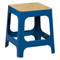 Hitch Peacock Blue Stool - The chunky construction of this high-gloss stool makes it a statement piece. The cutout in the seat also makes it easy to move around.