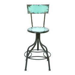 Benzara - Old Look Baby Blue Bar Chair With Adjustable Seat - Take a load off in style with a unique antique that's as comfortable as it is eye-catching. An adjustable seat height and comfort foot rest also makes is suitable to just about anyone with virtually any height. And the chair fits in anywhere with its weathered baby blue paint, that perfectly pops in just about any room's decor.