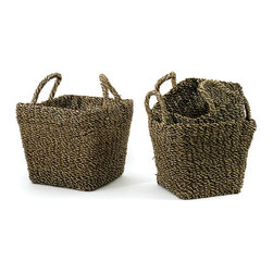 Set of Three Seagrass Baskets - Store your essential items securely or plan out a picnic by carrying necessary items in these aesthetically beautiful seagrass baskets. This stylish basket set is spacious enough to store multiple items. Made from durable material, this basket features dual handles for secured handling.