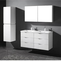 "Madeli - Madeli Bolano 48"" Double Bathroom Vanity for X-Stone Top - Glossy White - Madeli brings together a team with 25 years of combined experience, the newest production technologies, and reliable availability of it's products. Featuring sleek sophisticated lines Madeli vanities are also created with contemporary finishes and materials. Some vanities also feature Blum soft-close hardware. Madeli also includes a Limited 1 Year Warranty on Glass Vessels, Basin, and Counter Tops. Features Two 24"" Units create this Six Drawer Vanity Soft-close drawer glides Glossy White finish X-Stone with overflow for a single-hole faucetFaucet and drain are not included Matching medicine cabinet available Limited 1 Year Warranty on Glass Vessels, Basin, and Counter Tops How to handle your counter Spec Sheet for X-Stone Top"
