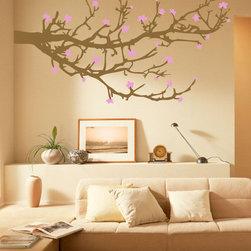 WALLTAT - Branches and Blossoms Wall Decal, As-Is - Branches and Blossoms Wall Decals have a two color design for the ultimate in customization and style for both the Branches and Blossoms.  Available on Houzz in Size C in Chocolate Branches with Pink Blossoms. Select the orientation to be As-Is (extending right) or Reverse (extending left).  This design is intended to be placed at the corner of a wall to create the impression of a continuous landscape. Branches and Blossoms is perfect for living rooms, bedrooms, kids rooms, offices, or any room!  Made of high quality matte finish vinyl it will compliment your existing wall finish for a custom designer look. Convert your walls into interesting landscapes in minutes with WALLTAT Wall Decals.  Made in the USA.