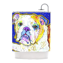 "Kess InHouse - Rebecca Fischer ""Mavis"" Bull Dog Shower Curtain - Finally waterproof artwork for the bathroom, otherwise known as our limited edition Kess InHouse shower curtain. This shower curtain is so artistic and inventive, you'd better get used to dropping the soap. We're so lucky to have so many wonderful artists that you'll probably want to order more than one and switch them every season. You're sure to impress your guests with your bathroom gallery in addition to your loveable shower singing."