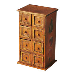 Butler - Butler Jewelry Case, Hors D'oeuvres - Crafted from solid mango wood, this hand painted jewelry box features an aged, crackled finish. Eight small drawer compartments are sure to keep jewelry items organized.
