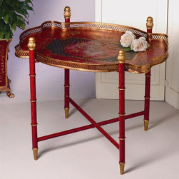 "Dessau Home - Tray w Stand in Red and Black - The entire stand including tray is made of iron. Painted image. Colors: red, black, with gold accents.. 28 in. L x 20 in. W x 24 in. HValue has always been an essential ingredient at Dessau Home. ""Essentials"" represents a collection of well-appointed yet affordable home furnishings with a unique traditional styling that appeals to most transitional and contemporary home decorating needs."