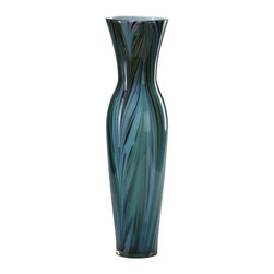 Cyan - Tall Peacock Feather Vase - Weight: 8.76lbs.