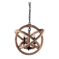 Zuo Modern Contemporary, Inc. - Caledonite Ceiling Lamp Twine - A twisting optical illusion. The Caledonite Ceiling Lamp is a study in contrasts. Twine-wrapped circles move in curving geometric symmetry around a two-pronged iron chandelier reminiscent of a Da Vinci sketch.